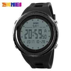 2017 Busana Pria Olahraga Watches Countdown Chrono Double Time EL Lampu Digital Jam Tangan 50 M Tahan Air SKMEI Watch 1246 -hitam-Intl