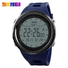 2017 Busana Pria Olahraga Watches Countdown Chrono Double Time EL Lampu Digital Jam Tangan 50 M Tahan Air SKMEI Watch 1246 -biru-Intl