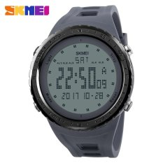 2017 Busana Pria Olahraga Watches Countdown Chrono Double Time EL Lampu Digital Jam Tangan 50 M Tahan Air SKMEI Watch 1246 -abu-abu-Intl