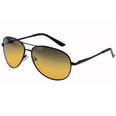 2017 Merek Baru Kacamata Pria Kacamata Terpolarisasi Mengemudi Malam Vision Mata Mengurangi Silau Kuning Kacamata Matahari Oculos Sinar UV 400 YJ021 (Hitam) Kacamata Hitam [membeli 1 Mendapatkan 1 Hadiah]