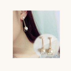 Review Toko 2017 Baru Desain Double Simulated Pearl Gold Warna Rumbai Earrings Untuk Wanita Pesta Perhiasan Korea Style Square Earrings Intl