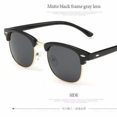 Harga 2017 Baru Fashion Polarized Sunglasses Women Club Bingkai Merek Desain Retro Berjemur Kacamata Pria Kacamata Ray 3016 Hitam Frame Grey Lens Intl Origin