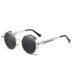 Bruno Dunn 2017 Mode Terkini Terpolarisasi Pria Wanita Kaca Mata Perempuan Besar Roundframe Merek Desain Retro Kacamata Hitam Kacamata Wanita Uap Kacamata Punk 372 (bingkai Perak Abu-abu Lensa) -Intl