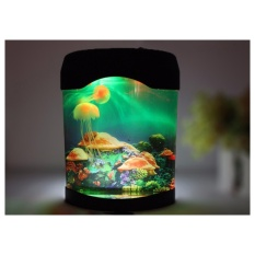 2017 Baru Mini Jelly Fish Tank Water Lampu Kamar Tidur Mood Night Light Color Changing-Intl