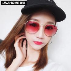 2017 Baru Polygon Gradien Sepanjang Wajah Kacamata Hitam Bersih Merah Merah Personality Hitam Wajah Gelas Kecil untuk Wanita-Internasional