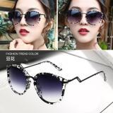 Ulasan 2017 New Retro Metal Sunglasses Female Men Sunglasses Large Frame Reflective Sunglasses Star Models Not Specified Black Intl