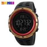 Spesifikasi 2017 Baru Skmei 1251 Pria Olahraga Watches 50 M Tahan Air Watches Countdown Double Time Watch Alarm Chrono Digital Jam Tangan Black Gold Red Yg Baik