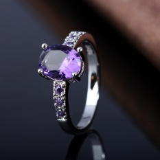 2017 Terbaru Lingmei Perhiasan Cantik Oval Cut Amethyst/Merah Crystal/White Crystal Silver Ring Gemstone-Merah Oval Ukuran #6-Intl