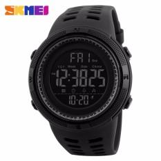 2018 baru SKMEI 1251 pria olahraga Watches 50 M tahan air Watches Countdown Double waktu Watch Alarm Chrono Digital jam tangan - semua hitam