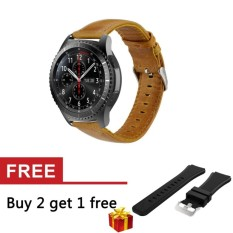 22mm Genuine Leather Strap untuk S3 Frontier/Klasik SM-R760 AndMoto 360 2nd Gen 46mm Watch-Intl