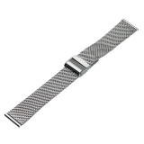 22Mm Mesh Gelang Stainless Steel Wrist Watch Band Tali Interlock Clasp Silver Tiongkok Diskon 50