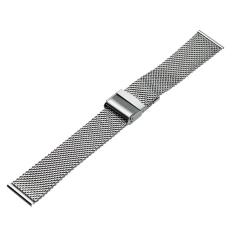 Harga 22Mm Mesh Gelang Stainless Steel Wrist Watch Band Tali Interlock Clasp Silver Yang Bagus