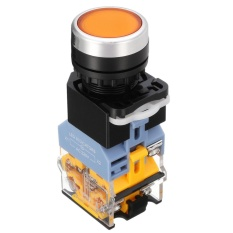 22mm NO + NC START STOP DPST Latching Push Button Switch SelfLock Control AC 220 V (Kuning) -Intl