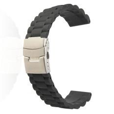 Jual 22 Mm Uhrenband Uhren Ban Lengan Faltschlie E Silikon Kautschuk Jeruk Schwarz Lengkap