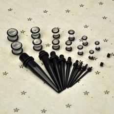 23 buah telinga lancip + steker Kit 14g - 00g 1,6 mm-10 mm diukur menggunakan mesin Expander mengatur tandu (hitam) - International