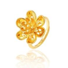 24 K Berlapis Emas Cincin Kasual Sederhana Flower Adjustable Cincin Hadiah Perhiasan untuk Wanita Pesta Club Cincin Emas Korea- INTL