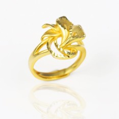 24K Gold Plated Ring Casual Simple Flower Leaf Adjustable Rings Jewelry Gifts for Women Party Club Emas Korea Cincin - intl