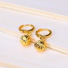24 K Emas Disepuh Manik-manik Bulat Bentuk Anting-anting Eardrops Fashion Perhiasan Sederhana For Perempuan Emas Korea Anting Anting