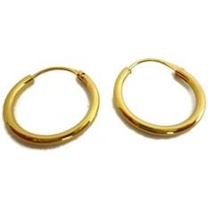 24 K Kuning Emas Berlapis Kecil Endless Plain Hoop 20mm D X 1.5mm untuk Anak Laki-laki Remaja Anting -Intl
