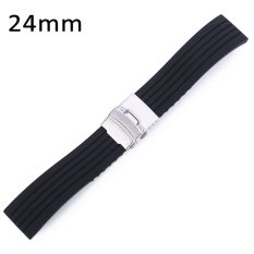 Promo 24Mm Rubber Watch Band Stainless Steel Folding Clasp Dengan Tali Pengaman Di Indonesia