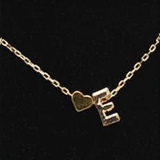 26 Surat Jantung Berbentuk Menawan Liontin Kalung Wanita Sederhana Pecinta Emas-Intl