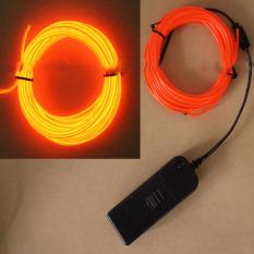 2 M EL Kawat Tali Tabung Lampu Neon Glow Kontroler untuk Mobil Dekorasi Pesta Orange-Intl