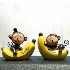 2 Pcs 3.15 Mobil Boneka Hias Pisang Monyet Berbentuk Kerajinan Ornamen Ornamen Resin-Intl By Taopanda.