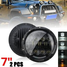2 pcs 7 Inch Round 75 W LED Headlight (Tinggi/Rendah) untuk Jeep Wrangler Land Rover Harley-davidson Hummer Hitam-Intl