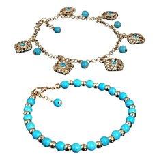 2 Pcs Boho Berlian Imitasi Bunga Manik Manik Turquoise Foot Chain Anklet Gelang Intl Oem Diskon 30