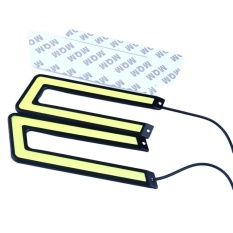 Spesifikasi 2Pcs Car Auto Cob Leds Daytime Running Bright Light Drl Waterproof Fog U Shape Intl Online