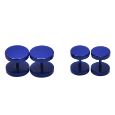 2 Pcs Charm Unisex Mens Barbell Punk Gothic Stainless Steel Ear STUDS Earrings Biru Tua 8mm