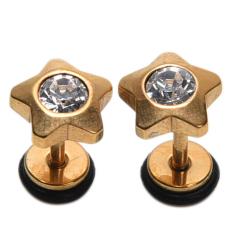 2 Pcs Cute Steel Barbell Telinga Tragus Tulang Rawan Helix Kancing Anting Piercing Gold-Intl