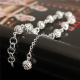 2 Buah Fashion Perhiasan Wanita 925 Perak Berlapis Berongga Manik Manik Gelang Rantai Gelang Keberuntungan Asli