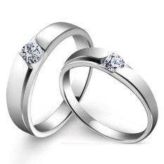 2 Pcs Pecinta Cincin Romantis Jewellry Cincin Yang Dapat Disesuaikan 925 Silver Couple Ring E030-Intl