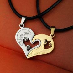 2 Buah Kalung Pria Wanita Pasangan Kekasih Yang I Love You Bentuk Jantung Pasangan Rantai Permata Putih Emas