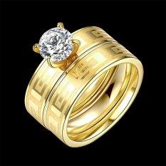 2 Pcs Terbaru Zircon Double Ring Pola Ukiran Wanita Pria Perhiasan Hadiah Titanium Steel Pernikahan Cincin Mengatur Pernikahan-emas U.S. Ukuran 7-Intl