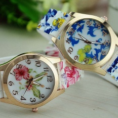 2pcs * Pastoral style silicone watches sell fast selling jelly watch Camellia peony variety of women's watchesMorning glory - intl