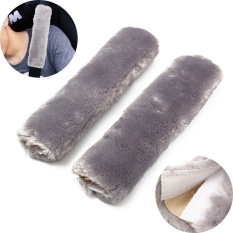 Harga 2Pcs Plush Soft Car Safety Seat Belt Harness Cover Soft Shoulder Pad Protective Strap Wrap Belt Harness Shoulder Pads Grey Intl Satu Set