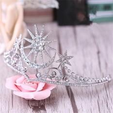 2 Pcs Shining Star Moon Ratu Tiara Mahkota Pernikahan Pengantin Hairband Baroque Aksesoris Rambut Wanita Kontes Prom Hiasan Rambut-Intl