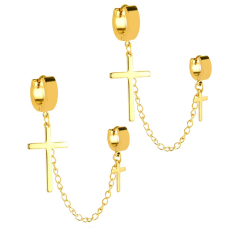 Toko 2Pcs Stainless Steel Double Cross Dangle Chain Men S Hoop Earrings Gold Intl Di Tiongkok