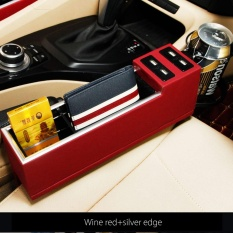 2X 4-USB Charger PU Kulit Hitam Mobil Penangkap Antara Kursi Lemari Penyimpanan Box-Intl