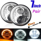 Jual 2X7 Angel Eyes Led Hi Lo Beam Drl Turn Signal Headlight For Jk Wrangler 07 16 Intl Online Di Indonesia