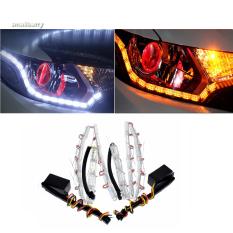2 X Fleksibel Mobil Cahaya Lampu Led Waterproof Drl Iampu Ganda Drl Mengubah Warna Sinyal Putih Amber Led Tikungan Internasional Original