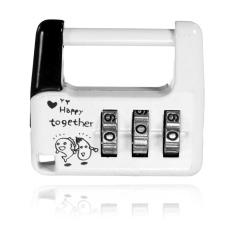 3 Dial Digit Kombinasi Keamanan Perjalanan Kode Kunci Gembok Tas Koper Bagasi Putih-Intl