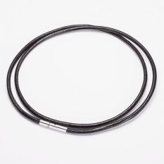 Review Pada 3Mm Stainless Steel Magnetic Gesper Hitam Tali Rantai Kalung Tali Kulit For Pria And Wanita 50 Cm L