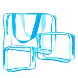 Dapatkan Segera 3 Pcs Men Women Pvc Zipper Portable Multifunctional Travel Handbag Storage Bag Travel Cosmetic Makeup Case Wash Bag Toiletry Bag Blue Intl