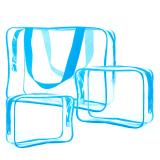 Diskon 3 Pcs Men Women Pvc Zipper Portable Multifunctional Travel Handbag Storage Bag Travel Cosmetic Makeup Case Wash Bag Toiletry Bag Blue Intl Thinch Di Hong Kong Sar Tiongkok