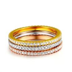 3 Pcs Lingkaran Set Penuh Berlian Cincin Perhiasan Hadiah untuk Wanita-Internasional
