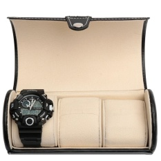 3 Watch Black Travel Case Pu Kulit Roll Perhiasan Kotak Penyimpanan Pemegang Organizer Intl Asli