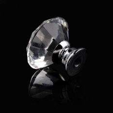 30mm Bentuk Diamond Kristal Kaca Handle Pintu Gagang untuk Dapur Lemari Laci Lemari Pakaian Lemari Dresser-Intl